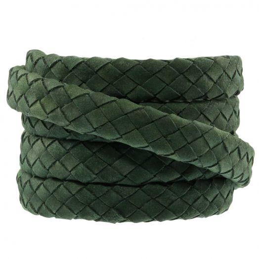 DQ Geflochtenes Leder (10 x 3 mm) Olive Green (1 meter)