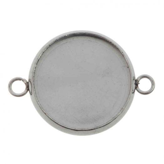 Edelstahl Fassung 2 Ösen (14 mm) Altsilber (10 Stück)