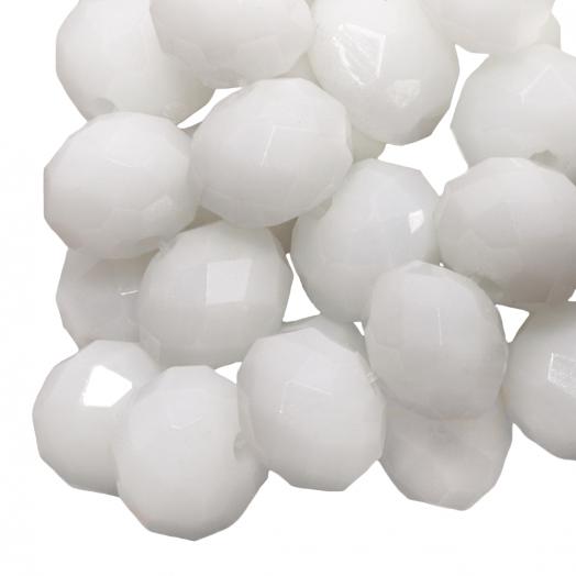Facetperlen Rondell (8 x 6 mm) White (72 Stück)