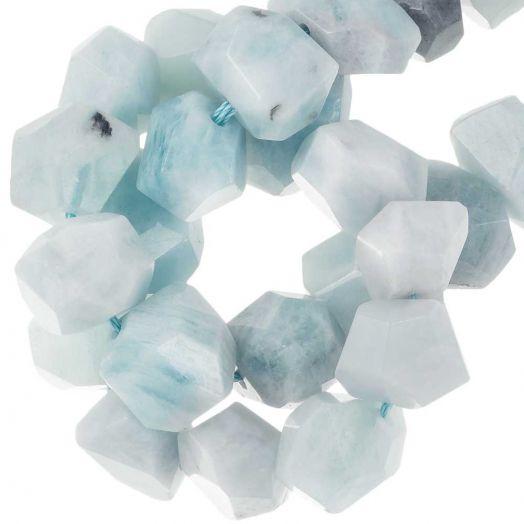 Aquamarine Facet Perlen (16 - 20 x 11 - 15 x 11 - 15 mm) 27 Stück