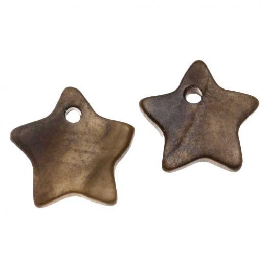 Muschel Charm (12 mm) Dark Brown (15 Stück)