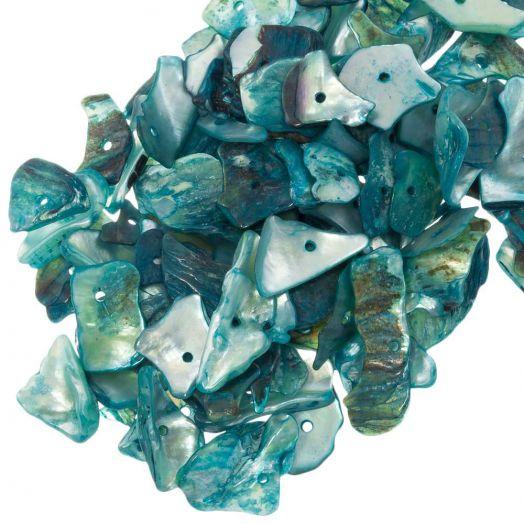 Muschelperlen (18 - 5 mm) Light Sea Green (25 gramm / ca. 70 Stück)