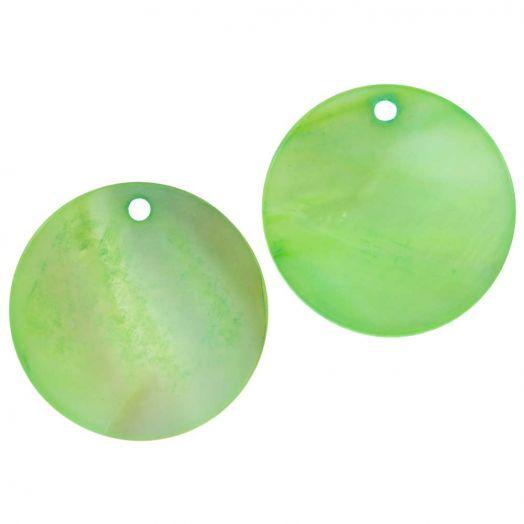 Charm Muschel (25 mm) Light Green (25 Stück)