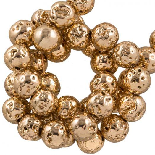 Galvanisierte Lava Perlen (4 - 5 mm) Light Gold (85 Stück)