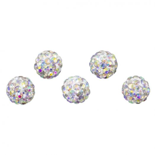 Shamballa Perlen (6 mm) Crystal AB (5 Stück)