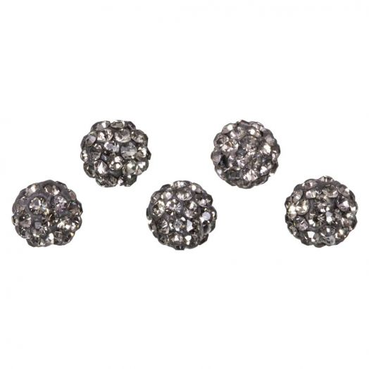 Shamballa Perlen (6 mm) Black Diamond (5 Stück)