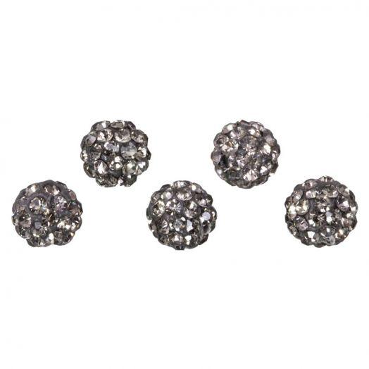 Shamballa Perlen (10 mm) Black Diamond (5 Stück)