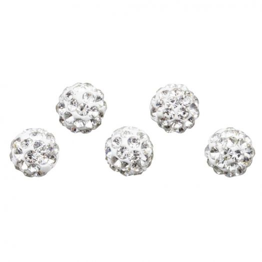 Shamballa Perlen (6 mm) Crystal (5 Stück)