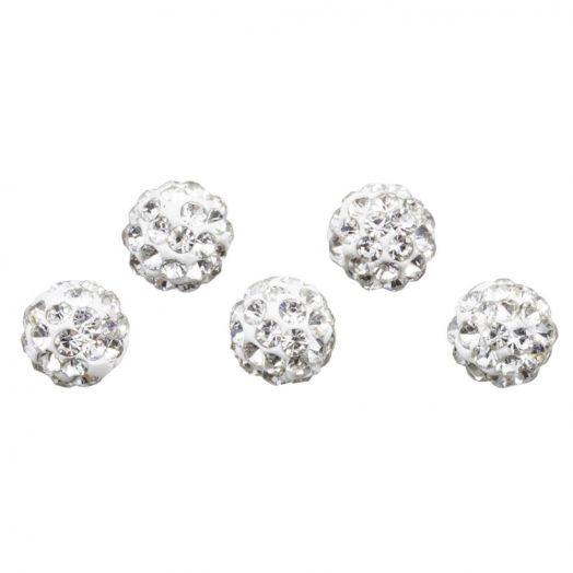 Shamballa Perlen (8 mm) Crystal (5 Stück)