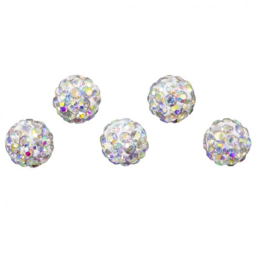 Shamballa Perlen (10 mm) Crystal AB (5 Stück)