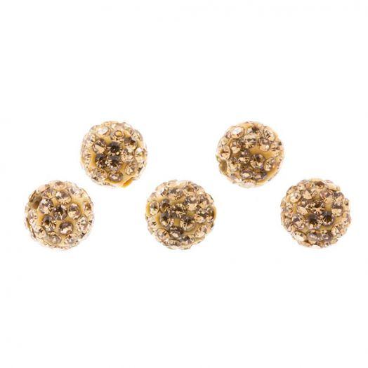 Shamballa Perlen (10 mm) Topaz (5 Stück)