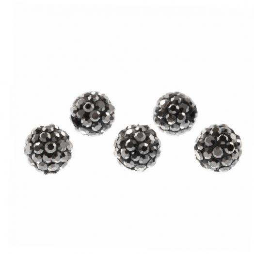 Shamballa Perlen (6 mm) Antracite (5 Stück)