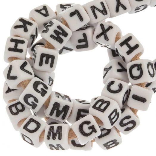 Acryl Buchstabenperlen Mix (7 x 8 mm) White (50 Stück)