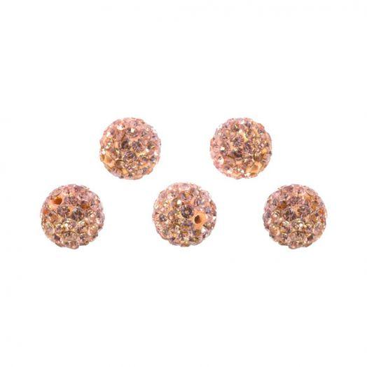Shamballa Perlen (8 mm) Salmon Peach (5 Stück)