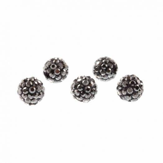 Shamballa Perlen (4 mm) Antracite (5 Stück)