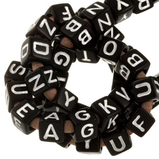 Acryl Buchstabenperlen Mix (6 x 6 mm) Black (100 Stück)