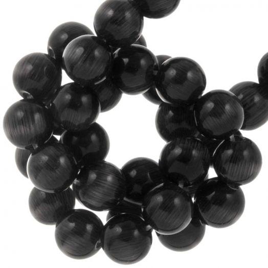 Glasperlen Cateye (6 mm) Black (65 Stück)