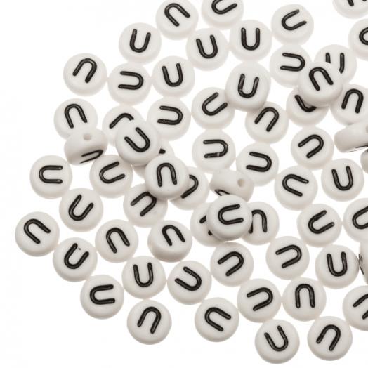 Acryl Buchstabenperlen U (8 x 8 x 4 mm) White (25 Stück)