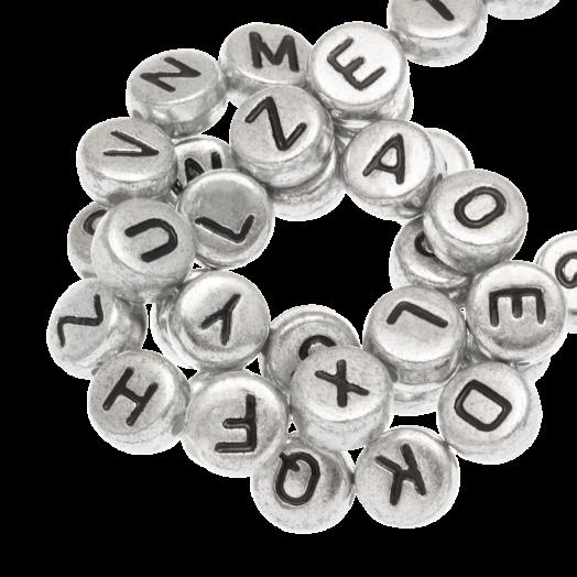 Acryl Buchstabenperlen Mix (7 x 3.5 mm) Silber (400 Stück)