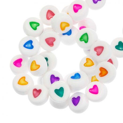 Acryl Buchstabenperlen Herz (7 x 3 mm) Mix Color (350 Stück)
