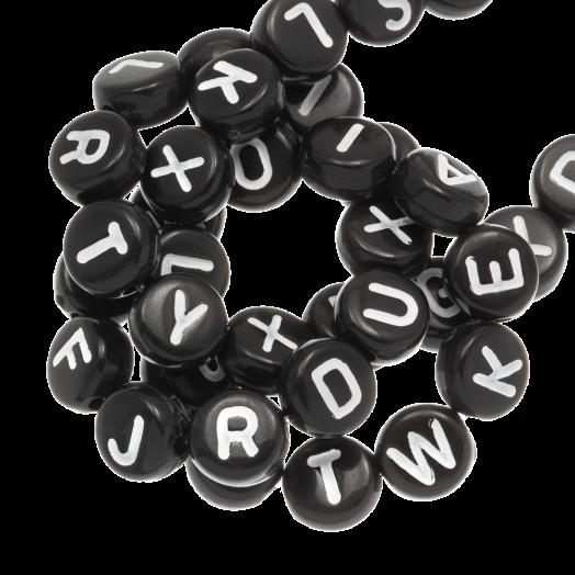 Acryl Buchstabenperlen Mix (7 x 4 mm) Black (400 Stück)