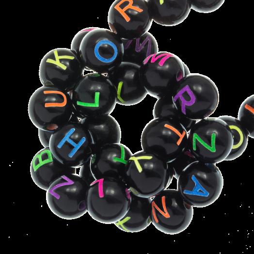 Acryl Buchstabenperlen Mix (7 x 8 mm) Black (200 Stück)