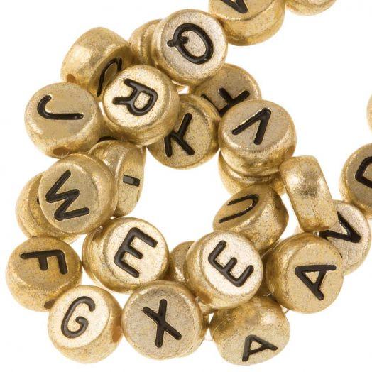 Acryl Buchstabenperlen Mix (7 x 4 mm) Gold (350 Stück)