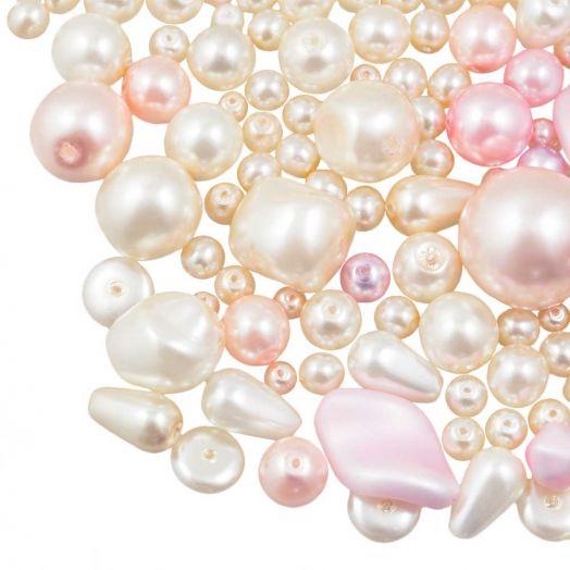 Perlenmischung - Glaswachsperlen (verschiedene Größen) Pink/Cream (50 Gramm)