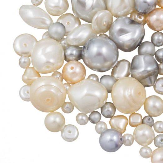 Perlenmischung - Glaswachsperlen (verschiedene Größen) Silver/Cream (50 Gramm)