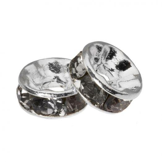 Strasssteinperlen (6 x 3 mm) Grey (10 Stück)