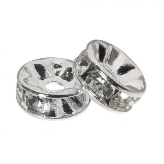 Strasssteinperlen (6 x 3 mm) Clear Crystal (10 Stück)
