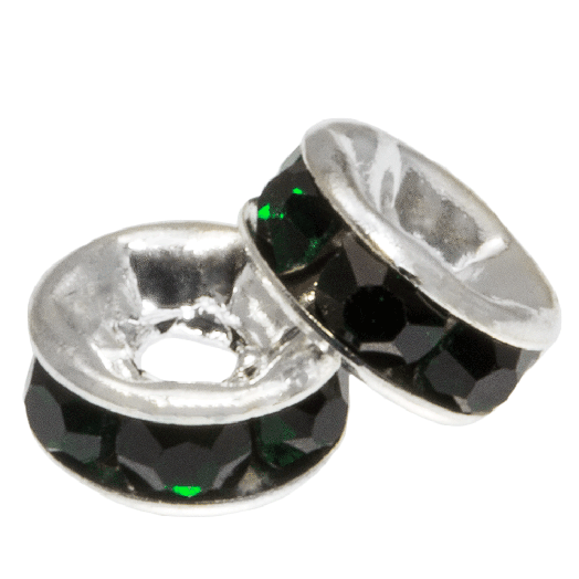 Strasssteinperlen (4 x 2 mm) Dark Green (10 Stück)