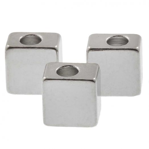Metallperlen (5 x 3 mm) Altsilber (10 Stück)