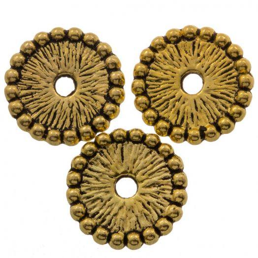 Metallperlen (12 x 12 mm) Alt Gold (15 Stück)