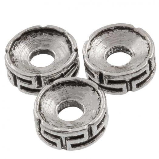 Metallperlen (7.5 x 3 mm) Altsilber (25 Stück)