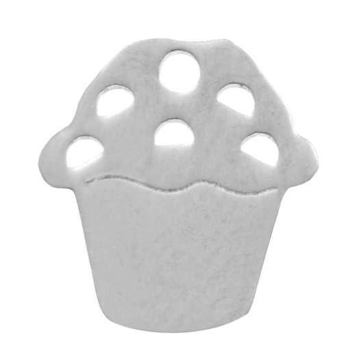 Edelstahl Charm Cupcake (11 mm) Altsilber (4 Stück)