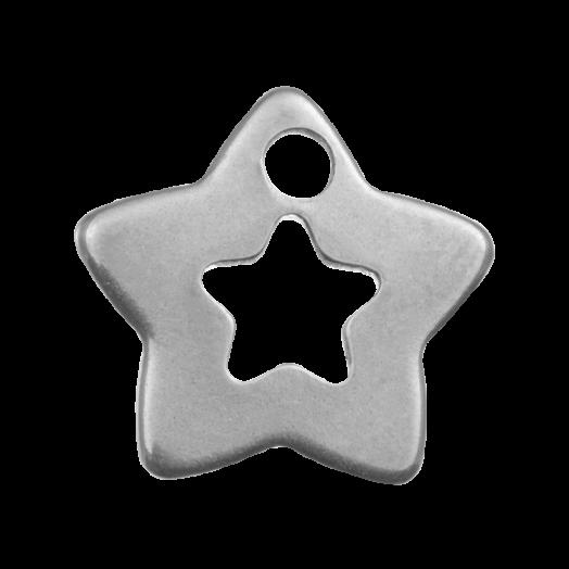 Edelstahl Charm Stern (12 x 11 mm) Altsilber (20 Stück)