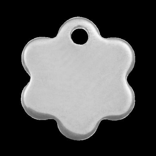 Edelstahl Charm Blume (9 x 8 mm) Altsilber (20 Stück)