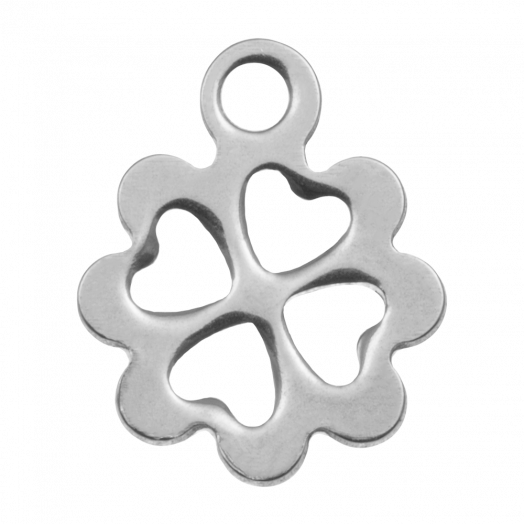Edelstahl Charm Klee (13 x 10 mm) Altsilber (20 Stück)