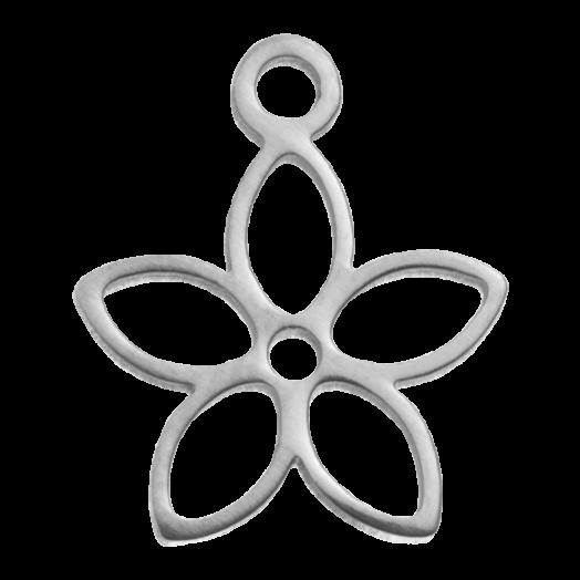Edelstahl Charm Blume (13 x 11 mm) Altsilber (4 Stück)