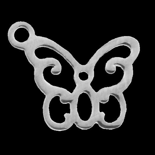 Edelstahl Charm Schmetterling (13 x 11 mm) Altsilber (4 Stück)