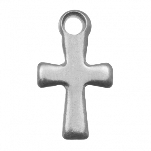 Edelstahl Charm Kreuz (17 x 10 mm) Altsilber (20 Stück)