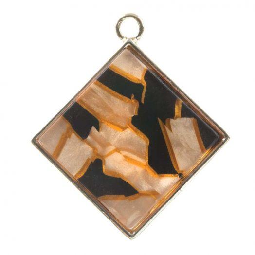 Pendant Acryl (29 x 26 x 4 mm) Orange Fire (3 Stück)