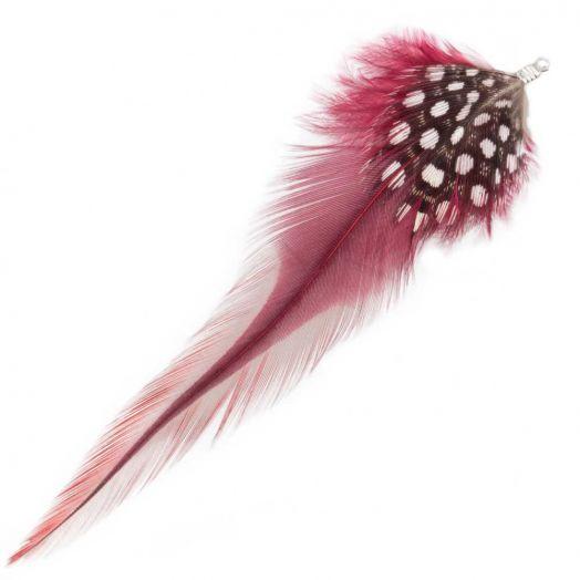 Federn mit Punkten (10 cm) Dark Raspberry (10 Stück)