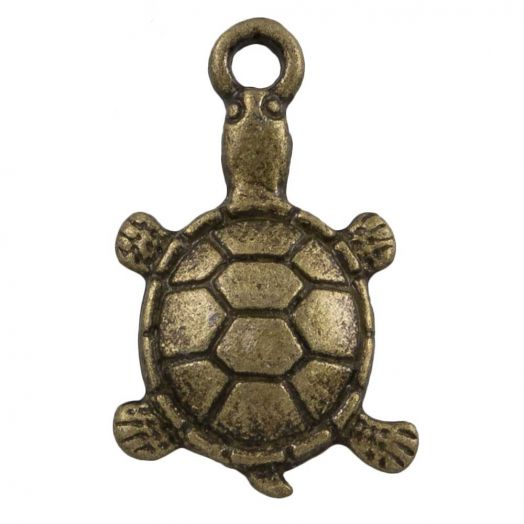 Charm Schildkröte (11 x 7 mm) Bronze (25 Stück)