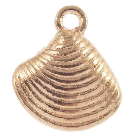 Charm Muschel (14 x 13 mm) Gold (25 Stück)