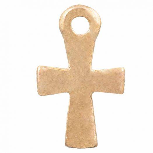 Charm Kreuz (12 x 7 mm) Gold (25 Stück)