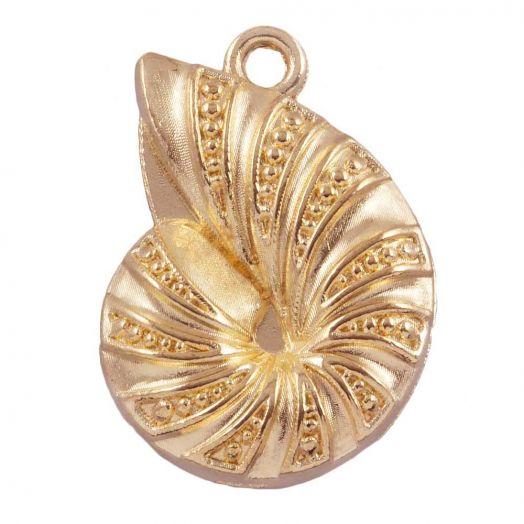 Charm Muschel (23 x 17 mm) Gold (25 Stück)