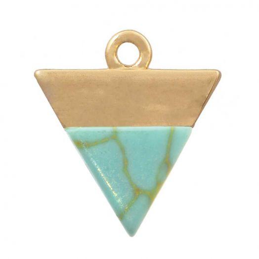 Charm mit Türkis Edelstein (13 x 12 mm) Gold (1 Stück)