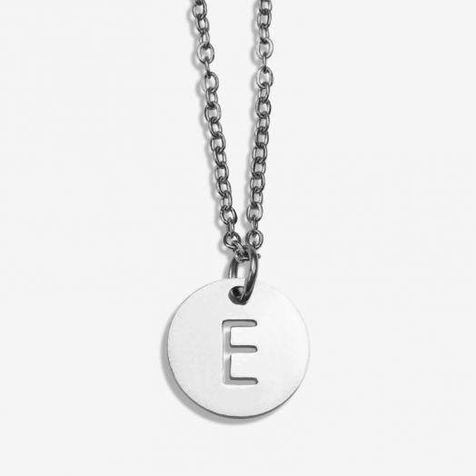 Edelstahl Kette Buchstabe E (45 cm) Altsilber (1 Stück)